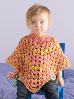 Free Crochet Pattern L20020 Crochet Hooded Poncho : Lion
