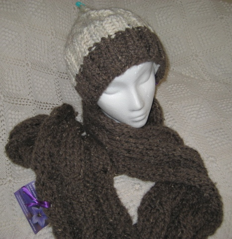 Reversable Cable Hat and Scarf